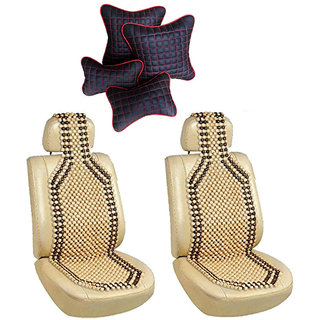 Pegasus Premium Two front Wooden bead seat with Neck Rest And Pillow/Cushion Hyundai Getz