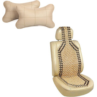 Pegasus Premium Wooden bead seat with neck rest For Maruti WagonR