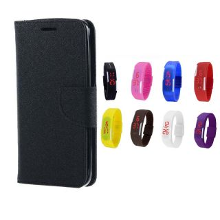 Samsung Galaxy Mega 2 G750 Wallet Diary Flip Case Cover Black With Free Digital Watch