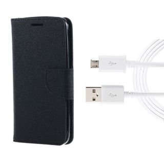 Micromax Canvas Spark Q380 Wallet Diary Flip Case Cover Black With Free Usb Cable