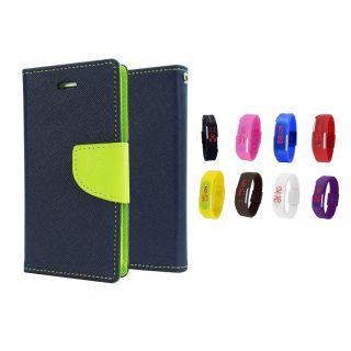 Micromax Bolt D321 Wallet Diary Flip Case Cover Blue With Free Digital Watch