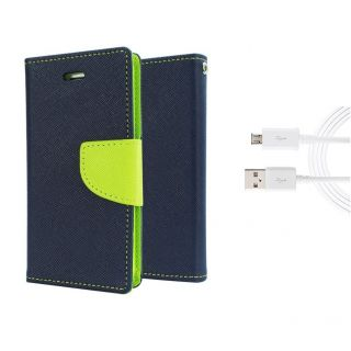 Micromax Canvas Selfie 2 Q340 Wallet Diary Flip Case Cover Blue With Free Usb Cable