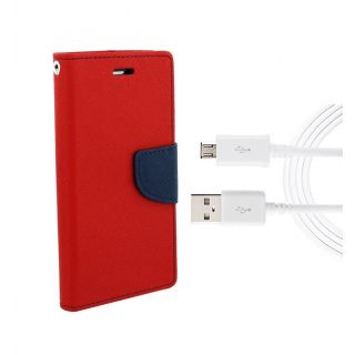 InFocus M530 Wallet Diary Flip Case Cover Red With Free Usb Cable