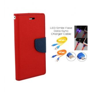 Sony Xperia M5 Wallet Diary Flip Case Cover Red With Free Usb Simily Data Cable
