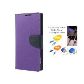 Micromax Canvas 2.2 A114 Wallet Diary Flip Case Cover Purple With Free Usb Simily Data Cable