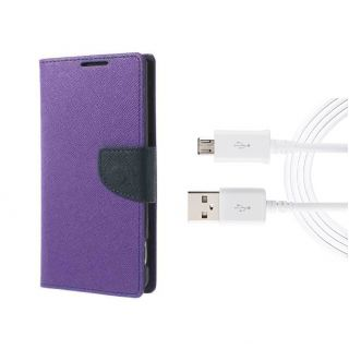 Micromax Canvas 2 A110 Wallet Diary Flip Case Cover Purple With Free Usb Cable