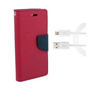 Sony Xperia M4 Aqua Wallet Diary Flip Case Cover Pink With Free Usb Cable