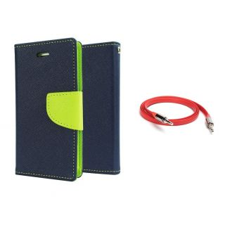Micromax Canvas Play Q355 Wallet Diary Flip Case Cover Blue With Free Aux Cable