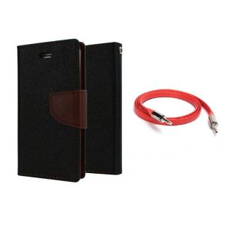 Micromax Bolt Q331 Wallet Diary Flip Case Cover Brown With Free Aux Cable