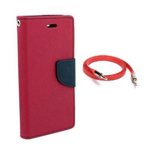 Micromax Canvas Doodle 3 A102 Wallet Diary Flip Case Cover Pink With Free Aux Cable