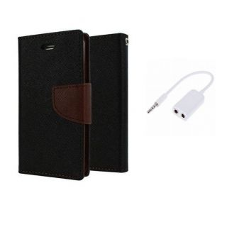 Micromax Canvas Nitro 2 E311 Wallet Diary Flip Case Cover Brown With Free Aux Splitter