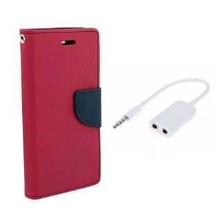 Lenovo A2010 Wallet Diary Flip Case Cover Pink With Free Aux Splitter