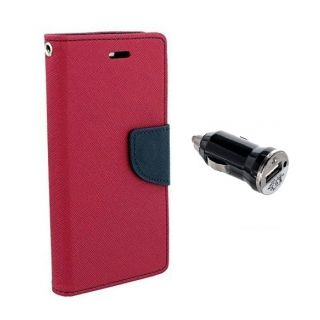 Micromax Canvas Hue 2 A316 Wallet Diary Flip Case Cover Pink With Free Car Charger