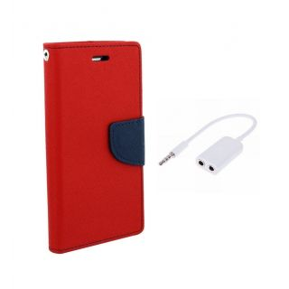 Micromax Canvas Fire A104 Wallet Diary Flip Case Cover Red With Free Aux Splitter
