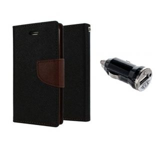 Samsung Galaxy Young 2 G130 Wallet Diary Flip Case Cover Brown With Free Car Charger