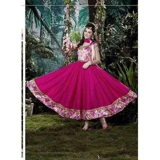 Thankar Pink Printed Banglori Silk With Bhaglpuri Print Anarkali Suit