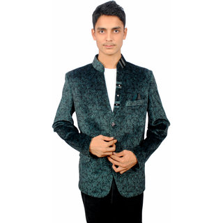 The Mods Green Plain Blazer for Men