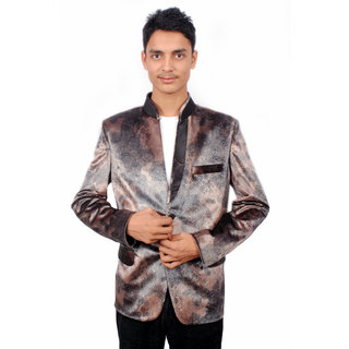 The Mods Brown Plain Blazer for Men