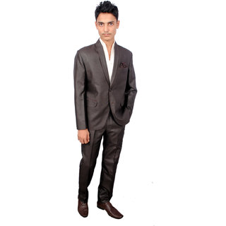 The Mods Gray Black Plain Blazer for Men
