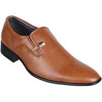 Peter John Leather's Men Tan Slip On Formal Shoes