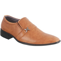 Peter John Leather's Men Tan Slip On Formal Shoes