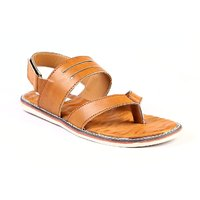 Leather Park Men's Tan Synthetic Leather Sandals
