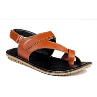 Leather Park Tan Men's Synthetic Leather Sandals - 101504298