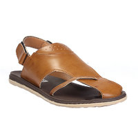 Leather Park Tan Men's Synthetic Leather Sandals