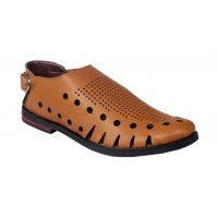 Leather Park Tan Men's Slip On Sandals