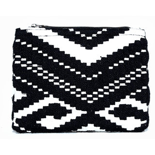 Diwaah Beautifully Handcrafted Party Cotton Black Color Zip Top Pouch With Zip (DWH000000803)