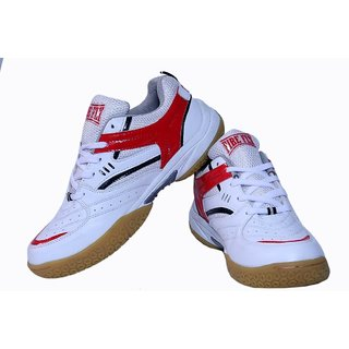 Excel Badminton Shoes White Red With Non Marking Sole