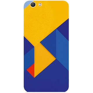 GripIt Blue Yellow Abstract Printed Case for Oppo F1s