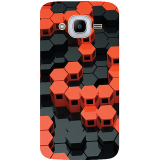 GripIt 3D Red & Black Hexagons Printed Case for Samsung Galaxy J2 (2016)