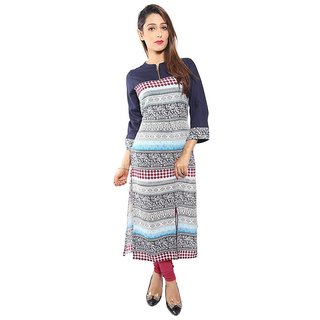 Half Sleeve AndBoat Neck Faux Crepe Kurti