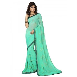 Beauty N Women Green Georgette Saree