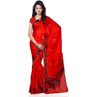 Beauty N Women Red Satin Saree