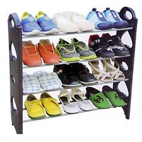 12 Pair Stackable Shoe Rack- 4 Tier