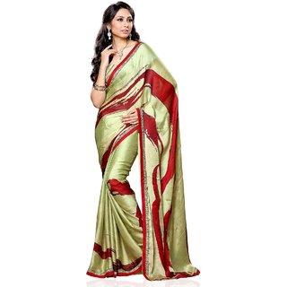 Beauty N Women Green  Red Satin Saree