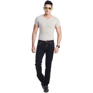 5EM Black Cotton Blend Slim Fit Denim Jeans