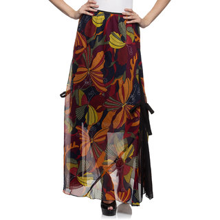 One Femme Womens Printed Long Maxi Skirt with Side Belt