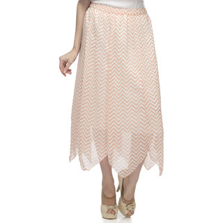 One Femme Womens Printed Georgette Skirt with Pointed Panels