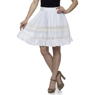 One Femme Womens White Solid Embroidered Short Skirt