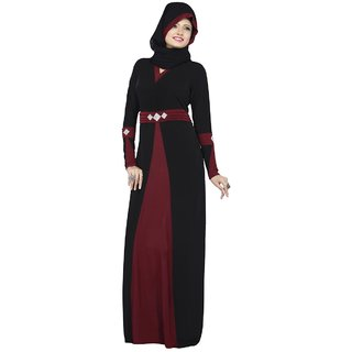 Triveni Pleasing Black Colored Stone Worked Lycra Burka