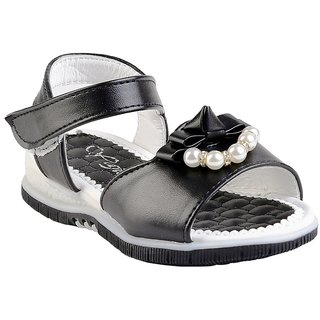 Small Toes Synthetic Black Comfortable latest stylish Embroidery Sandal For Baby Girls