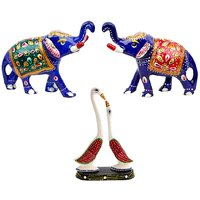 Halowishes Pure Brass Elephant Pair  Paper Mache Pair Of Swan Showpiece Gift Combo Set-635