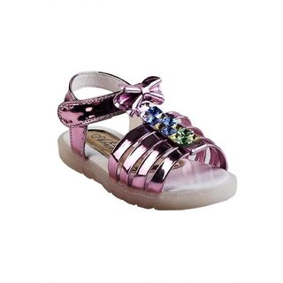 Small Toes Synthetic Leather Pink Comfortable latest stylish Solids Sandal For Baby Girls