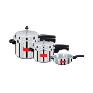 Super Bargain Sale!! Upto 70% Off On Kitchen Appliances, Furnishing & More By Shopclues | Surya Action Super Saver combo pack 5 L, 3 L, 2 L Pressure Cooker (Aluminium) @ Rs.999