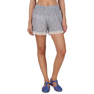 One Femme Womens Printed Shorts with Lace