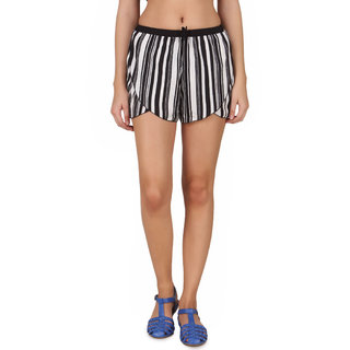 One Femme Womens Wavy Hemline Shorts with Drawstring