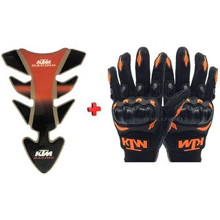 Combo For KTM Inspired Tank Pad And Racing Gloves For DUKE/RC-125/200/390..